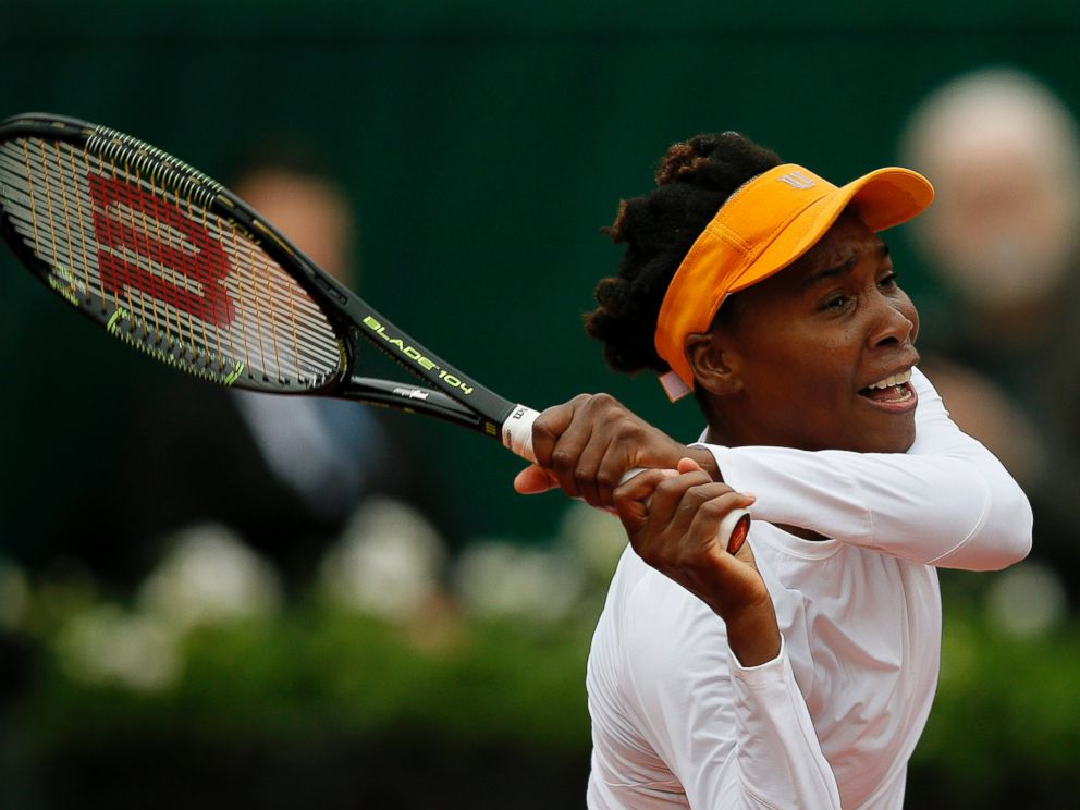 PHOTO: Venus Williams plays against Timea Bacsinszky of Switzerland during their womens single round of 16 match at the French Open tennis tournament at Roland Garros in Paris, June 1, 2016.