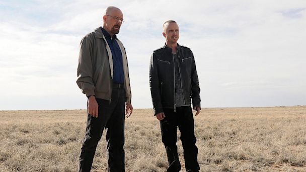 "PHOTO: This image released by AMC shows Bryan Cranston as Walter White, left, and Aaron Paul as Jesse Pinkman in a scene from ""Breaking Bad."""