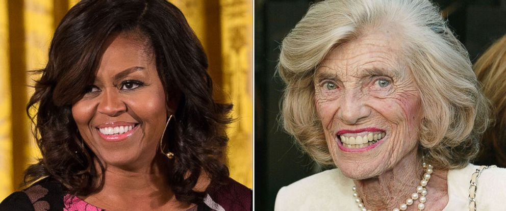PHOTO: Michelle Obama delivers opening remarks during an event at the White House Nov. 14, 2016 in Washington. Eunice Kennedy Shriver arrives for the Faces Of Sport party on April 29, 2004 in Beverly Hills, Calif.