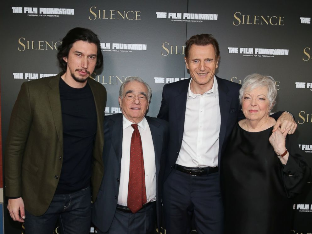PHOTO: Adam Driver, Martin Scorsese, Liam Neeson and Thelma Schoonmaker attend the New York Screening of Silence at Regal E-Walk Theater, on Dec. 8, 2016, in New York City.