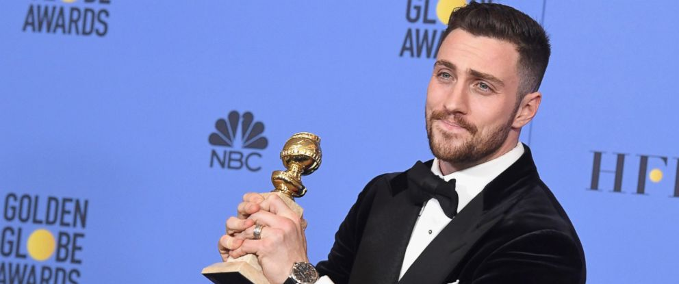 PHOTO: Actor Aaron Taylor-Johnson, winner of Best Supporting Actor in a Motion Picture for Nocturnal Animals, poses in the press room during the 74th Annual Golden Globe Awards at The Beverly Hilton Hotel, Jan. 8, 2017, in Beverly Hills, California.