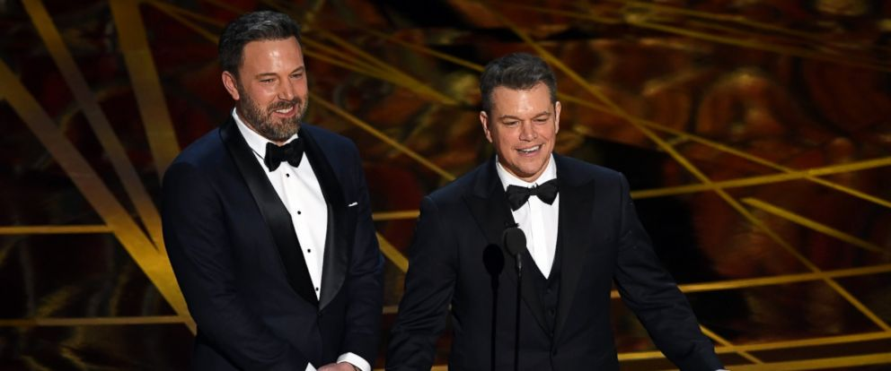 PHOTO: Actor/director Ben Affleck (L) and actor/producer Matt Damon speak onstage during the 89th Annual Academy Awards at Hollywood & Highland Center, on Feb. 26, 2017 in Hollywood, Calif.