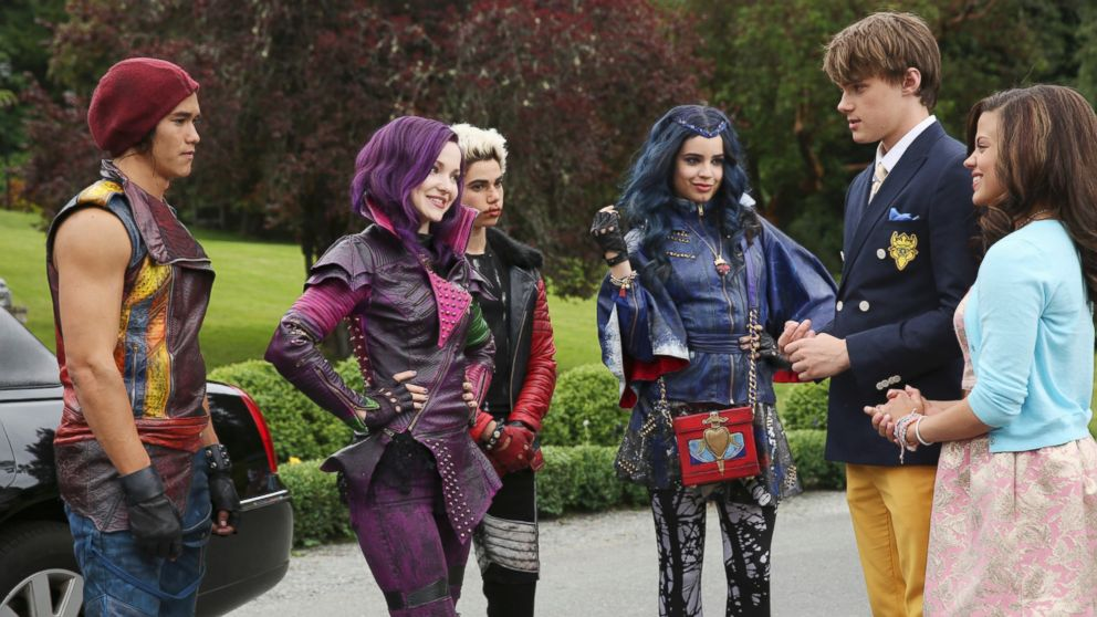 """The teenage sons and daughters of Disney's most infamous villains star in Disney's """"Descendants,"""" a live-action movie that, with a knowing wink at traditional fairy tales, fuses castles with classrooms to create a contemporary, music-driven story about the challenges in living up to parental and peer expectations, June 23, 2014."""