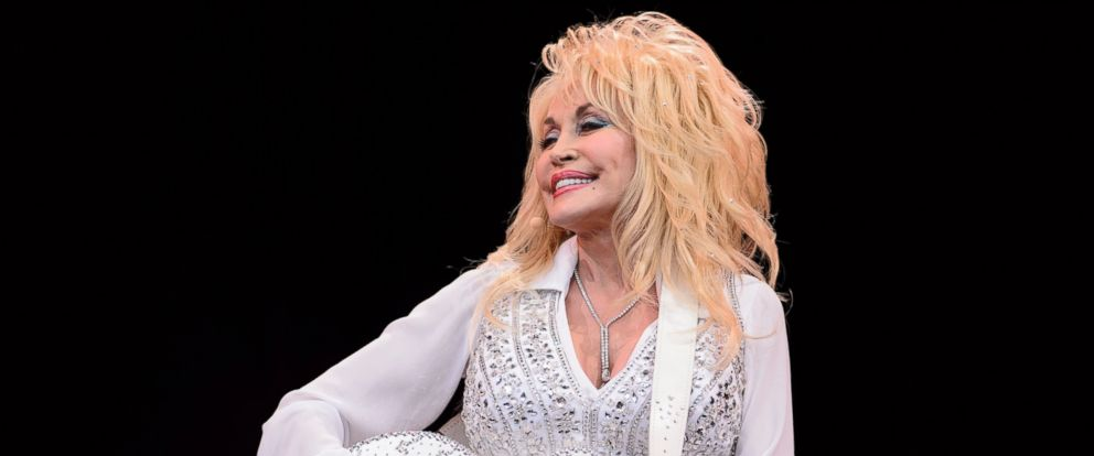 PHOTO: This file photo taken on June 29, 2014 shows U.S. country music singer Dolly Parton on the Pyramid Stage, on the final day of the Glastonbury Festival of Music and Performing Arts on Worthy Farm in Somerset, southwest England.