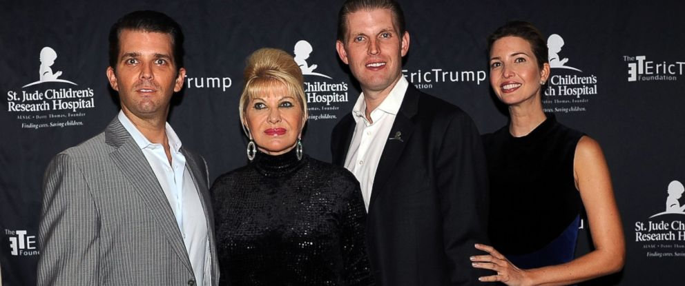 PHOTO: Donald Trump Jr., Ivana Trump, Eric Trump and Ivanka Trump attends the 9th Annual Eric Trump Foundation golf invitational at Trump National Golf Club Westchester, on Sept. 21, 2015, in Briarcliff Manor City, New York.