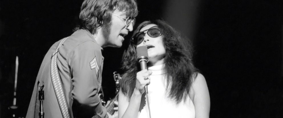 PHOTO: John Lennon and Yoko Ono perform on stage in New York City, circa 1970s.
