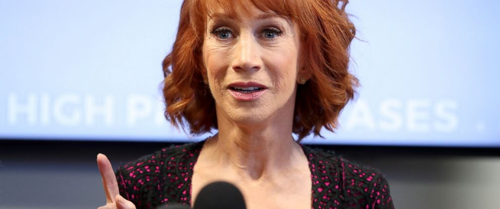 PHOTO: Kathy Griffin speaks during a press conference at The Bloom Firm, on June 2, 2017, in Woodland Hills, Calif.