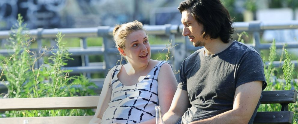 "PHOTO: Lena Dunham and Adam Driver seen on the set of ""Girls"" on Adam Drivers final day, on July 21, 2016, in New York City."