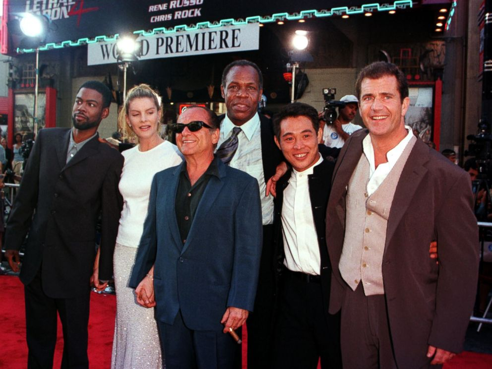 PHOTO: Cast members from the new film Lethal Weapon 4 pose as they arrive for its world premiere, July 7, 1998, in Hollywood, Calif. From left, Chris Rock, Rene Russo, Joe Pesci, Danny Glover, Jet Li and Mel Gibson.