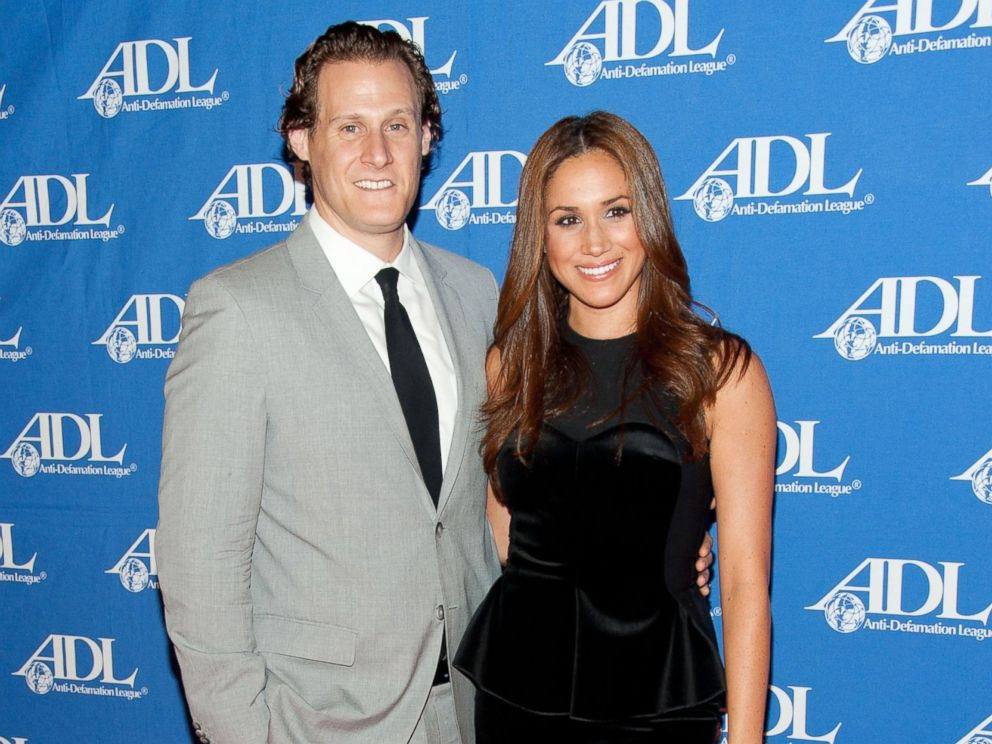 PHOTO: Actress Meghan Markle (R) and her husband Trevor Engelson arrive at the Anti-Defamation League Entertainment Industry Awards Dinner at the Beverly Hilton, on Oct. 11, 2011, in Beverly Hills, Calif.