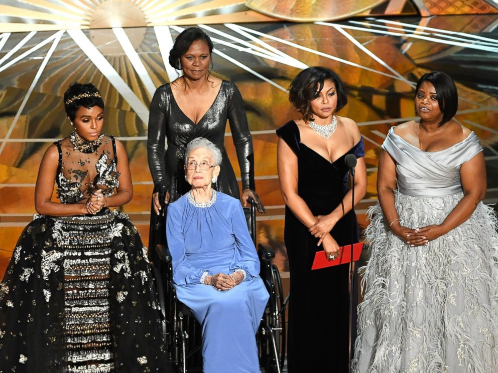 hollywood PHOTO: NASA mathematician Katherine Johnson (2nd L) appears onstage with (L-R) actors Janelle Monae, Taraji P. Henson and Octavia Spencer during the 89th Annual Academy Awards at Hollywood & Highland Center, on Feb. 26, 2017, in Hollywood, Calif.