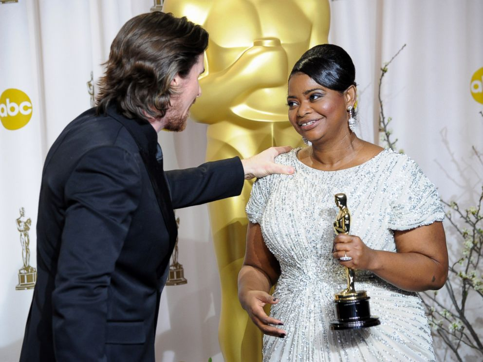 PHOTO: Actress Octavia Spencer and actor Christian Bale pose in the press room at the 84th Annual Academy Awards held at the Hollywood & Highland Center, on Feb. 26, 2012, in Hollywood, California.