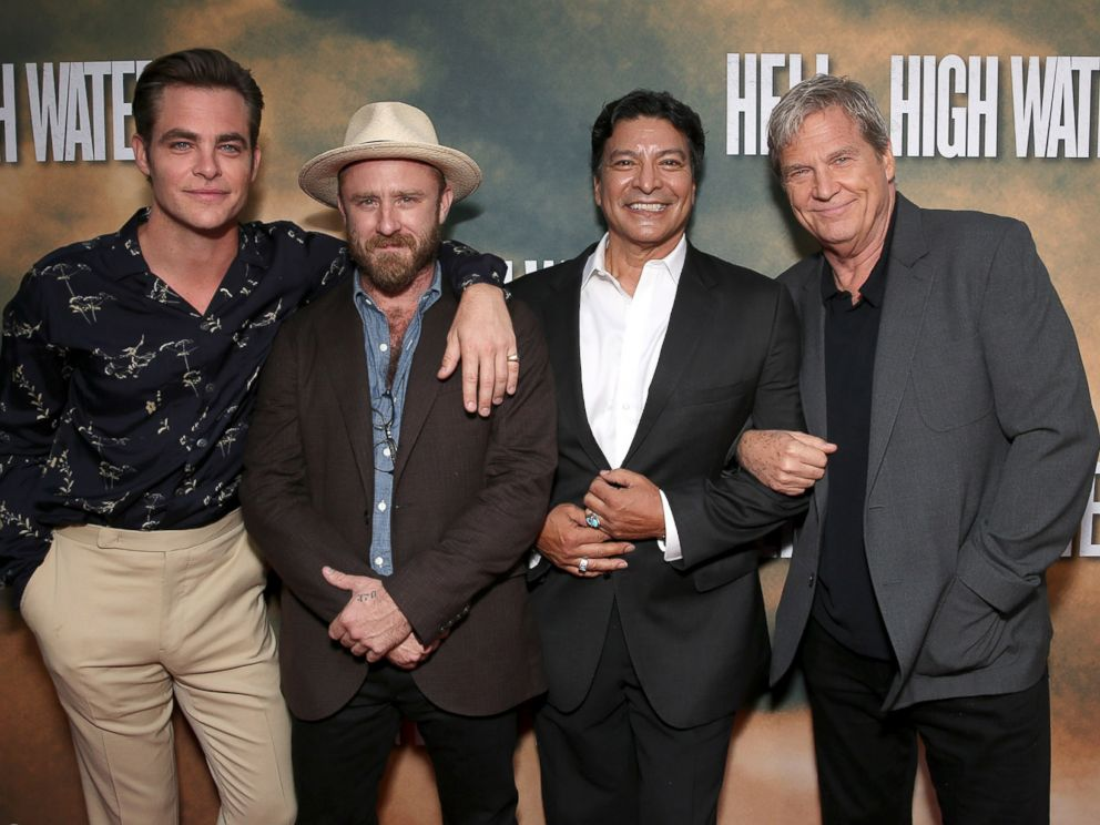 PHOTO: Chris Pine, Ben Foster, Gil Birmingham and Jeff Bridges attend a Screening Of CBS Films Hell Or High Water at the ArcLight Hollywood on August 10, 2016 in Hollywood, California.
