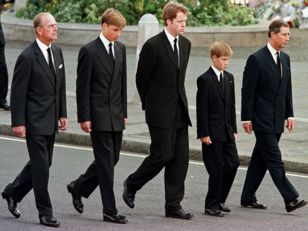 Britains Prince Philip, Duke of Edinburgh, Prince William, Earl Spencer, Prince Harry and Prince Charles, Prince of Wales walk outside Westminster Abbey during the funeral service for Diana, Princess of Wales in London, Sept. 6, 1997.