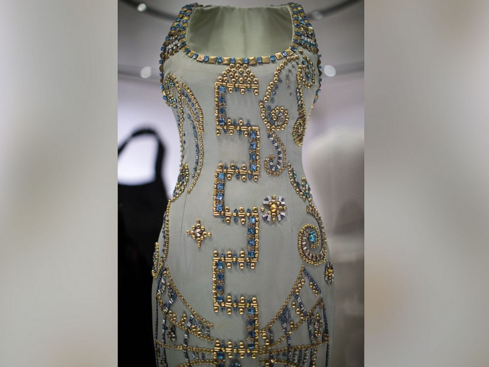 PHOTO: A 1991 Atelier Versace silk gown worn by Princess Diana at a Harpers Bazaar photo-shoot with Patrick Demarchelier on display at a press preview at Kensington Palace, on Feb. 22, 2017, in London.