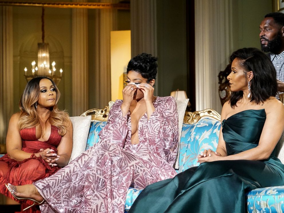 PHOTO: Phaedra Parks, left, Porsha Williams, center, and Sheree Whitfield on The Real Housewives of Atlanta reunion episode.