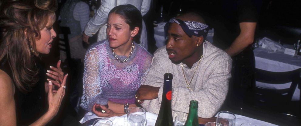 PHOTO: Raquel Welch, left, chatting with Madonna and Tupac Shakur at the Interview Magazine party, March 1, 1994 in New York City.