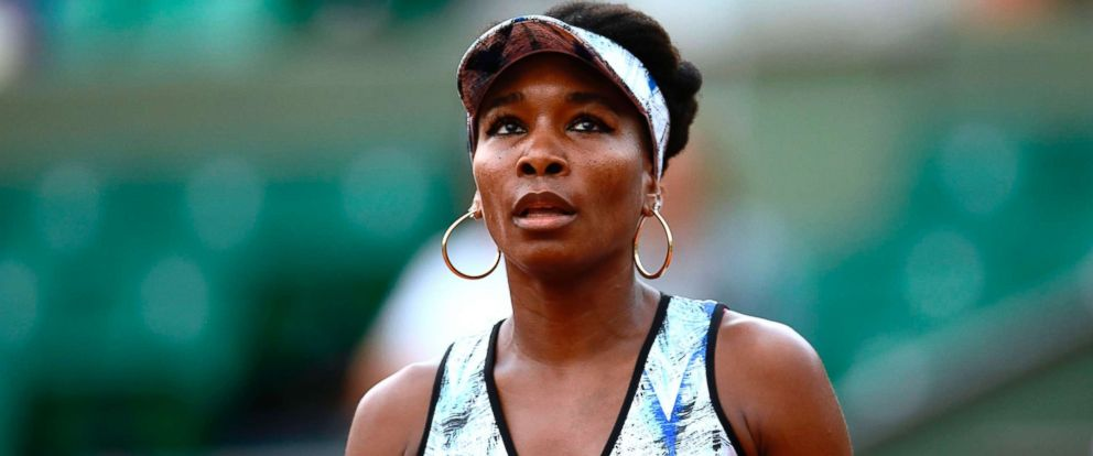 PHOTO: Venus Williams plays against Belgiums Elise Mertens during their tennis match at the Roland Garros 2017 French Open, June 2, 2017, in Paris.