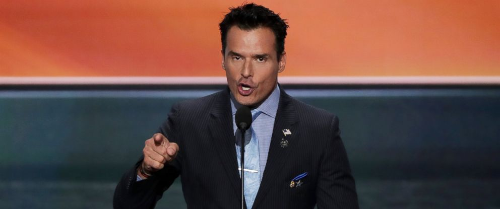 PHOTO: Antonio Sabato Jr. delivers a speech on the first day of the Republican National Convention, July 18, 2016, at the Quicken Loans Arena in Cleveland, Ohio.