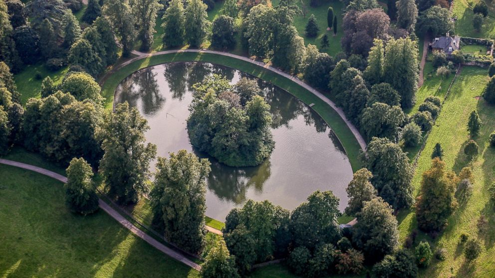 An aerial view of the burial site of Diana, Princess of Wales in this Sept. 9, 2006 file photo. The Round Oval lake is located in the Althorp Estate, home to Spencer family.