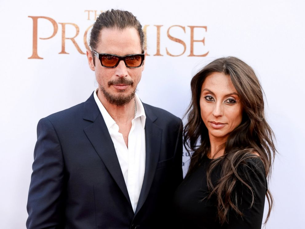 PHOTO: Chris Cornell and Vicky Karayiannis arrive to the Los Angeles premiere of The Promise at TCL Chinese Theatre on April 12, 2017, in Hollywood, Calif.