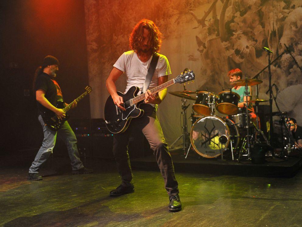 PHOTO: Kim Thayil, Chris Cornell and Matt Cameron of Soundgarden perform on stage at Shepherds Bush Empire, Nov. 9, 2012, in London.