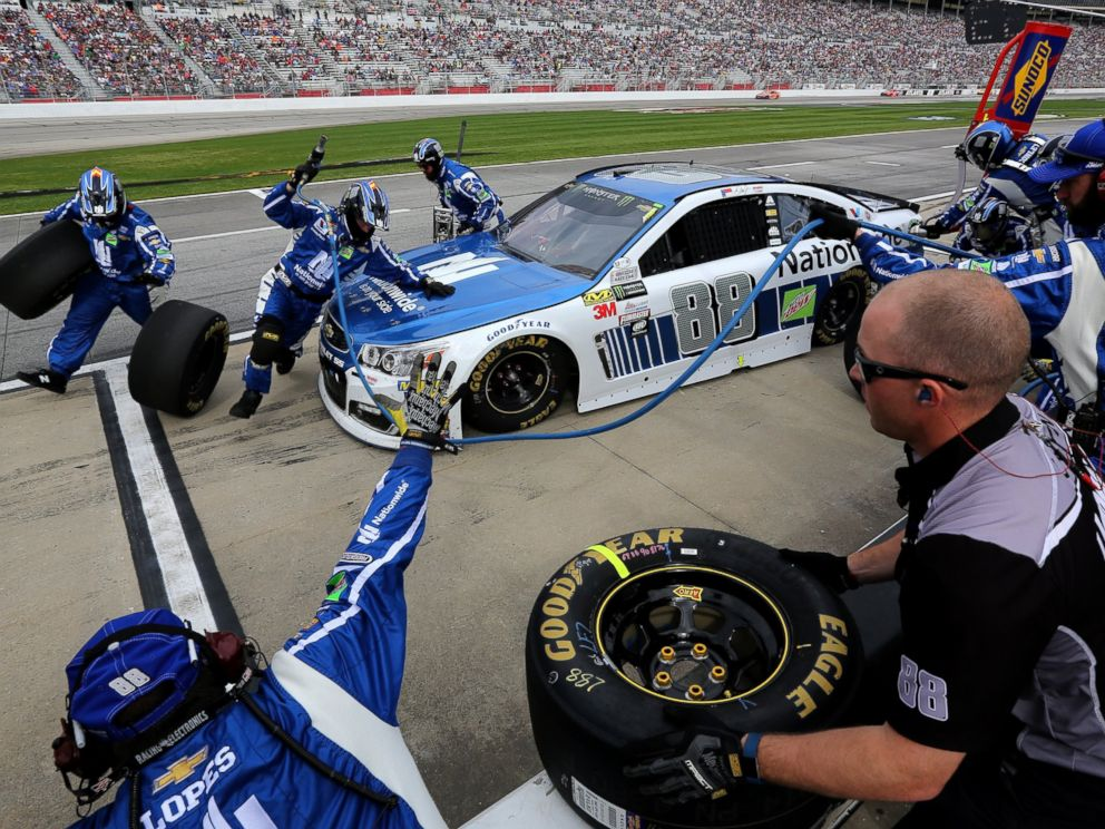 PHOTO: Dale Earnhardt Jr., driver of the #88 Nationwide Chevrolet, pits during the Monster Energy NASCAR Cup Series Folds Of Honor QuikTrip 500 at Atlanta Motor Speedway, March 5, 2017, in Hampton, Georgia.