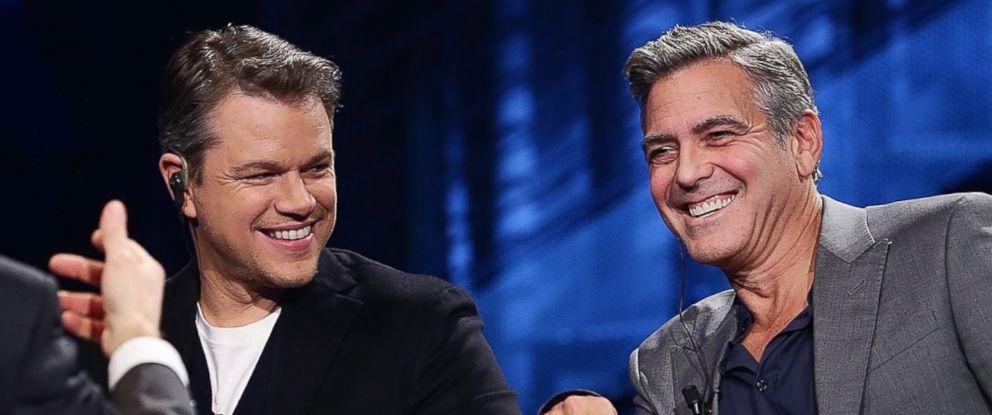 PHOTO: George Clooney and Matt Damon attend Che Tempo Che Fa. Feb. 9, 2014, in Milan, Italy.