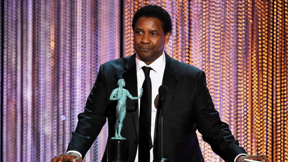 """Denzel Washington accepts outstanding performance by a male actor in a leading role for """"Fences"""" onstage during The 23rd Annual Screen Actors Guild Awards at The Shrine Auditorium, Jan. 29, 2017, in Los Angeles."""