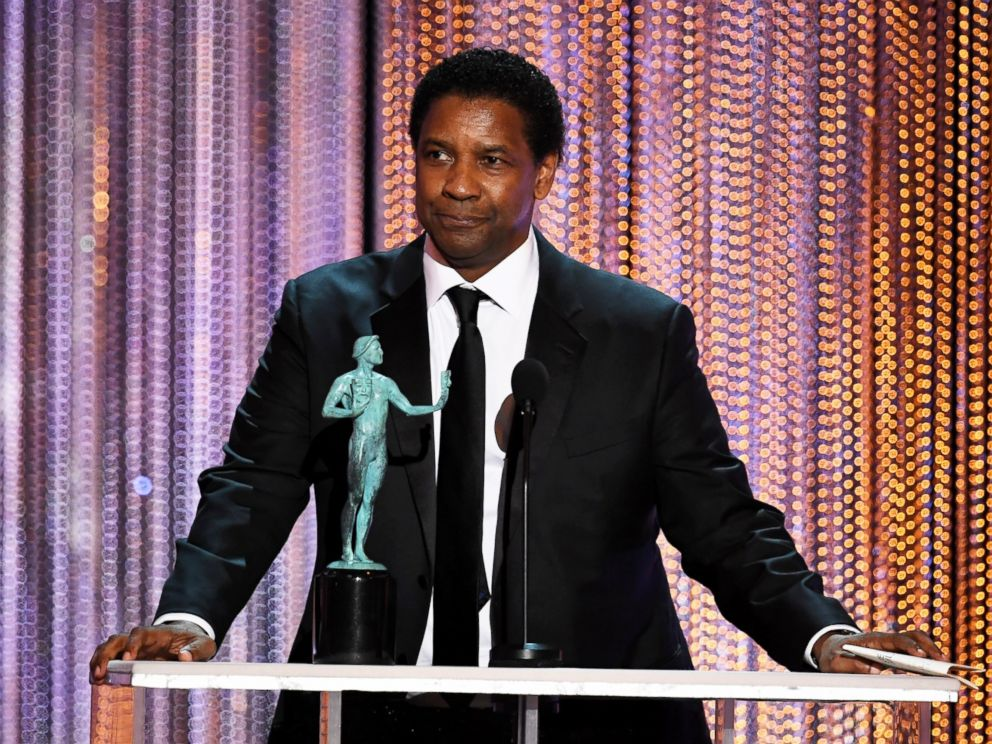 PHOTO: Denzel Washington accepts outstanding performance by a male actor in a leading role for Fences onstage during The 23rd Annual Screen Actors Guild Awards at The Shrine Auditorium, Jan. 29, 2017, in Los Angeles.