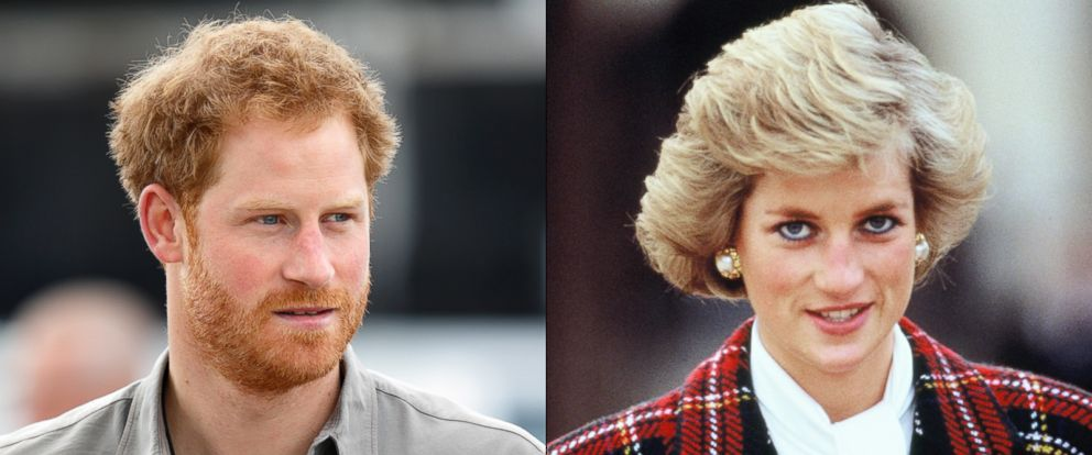 PHOTO: Prince Harry is seen in Wigan, England, July 5, 2016. | Diana, Princess of Wales, is seen in Chambord, France, Nov. 9, 1988.