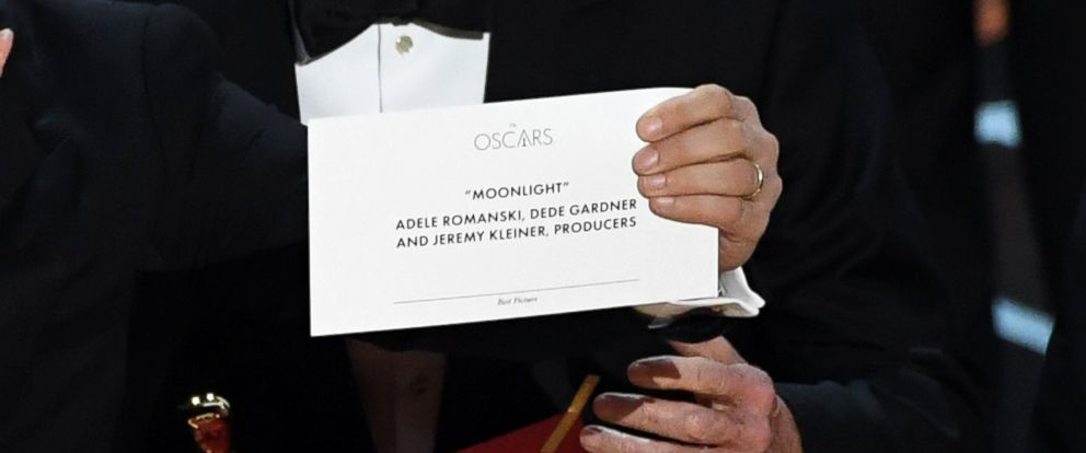 "PHOTO: Detail shot as ""La La Land"" producer Jordan Horowitz holds up the winner card reading actual Best Picture winner ""Moonlight"" onstage during the 89th Annual Academy Awards, Feb. 26, 2017, in Hollywood, Calif."