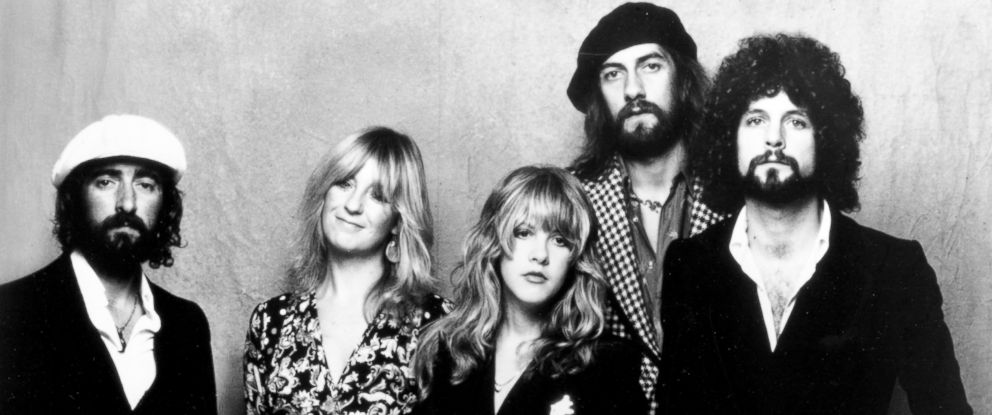 """PHOTO: John McVie, Christine McVie, Stevie Nicks, Mick Fleetwood, and Lindsey Buckingham of the rock group """"Fleetwood Mac"""" pose for a portrait in 1975."""