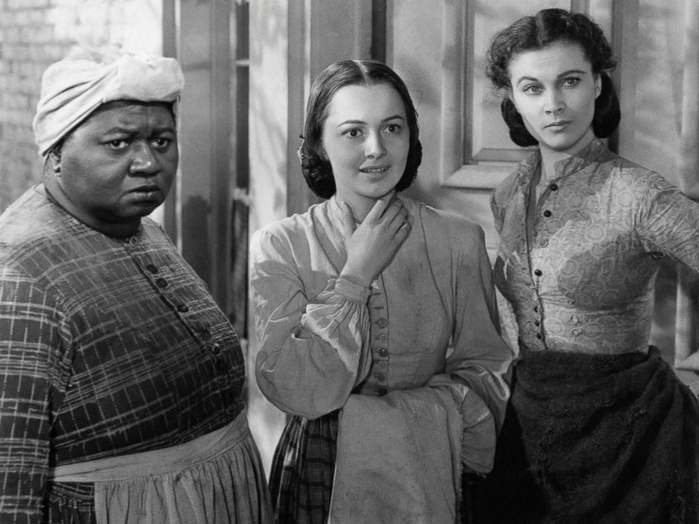 PHOTO: Actresses Vivien Leigh, Olivia De Havilland and Hattie McDaniel play the roles of Scarlett OHara, Melanie Hamilton and Mammy respectively in a scene from the 1939 movie Gone with the Wind.