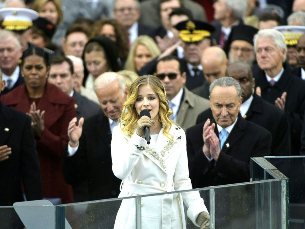 PHOTO: Jackie Evancho sings the National Anthem, Jan. 20, 2017, in Washington, following President Donald Trumps swearing-in ceremony.