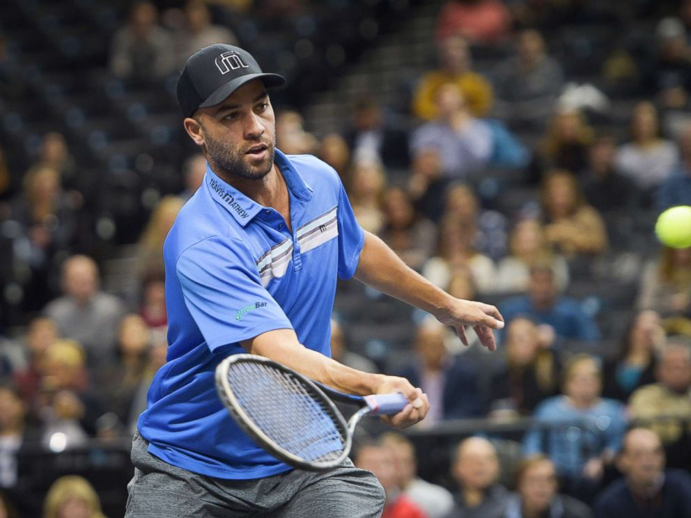 PHOTO: James Blake plays tennis, Jan. 7, 2017, at Barclays Center in the Brooklyn, New York City.