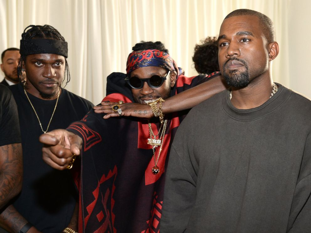 PHOTO: 2 Chainz and Kanye West attend Kanye West Yeezy Season 2 during New York Fashion Week at Skylight Modern, Sept. 16, 2015, in New York City.