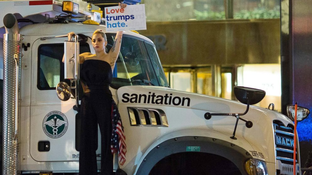 Lady Gaga Protests in Front of Trump Tower - ABC News