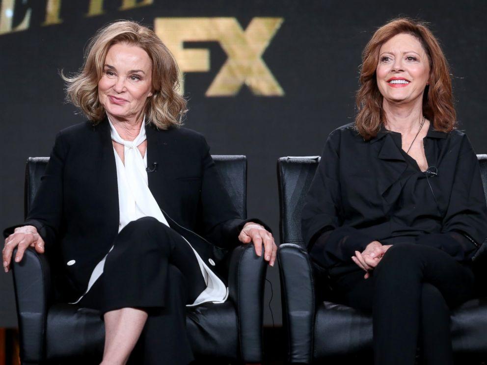 PHOTO: Jessica Lange, left, and Susan Sarandon of the television show Feud speak onstage, Jan. 12, 2017 in Pasadena, Calif.