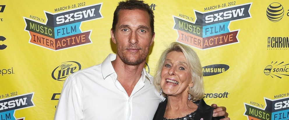 """PHOTO: Matthew McConaughey and mother Kay McConaughey attend the world premiere of """"Bernie"""" during the 2012 SXSW Music, Film + Interactive Festival at Paramount Theatre, March 13, 2012, in Austin, Texas."""