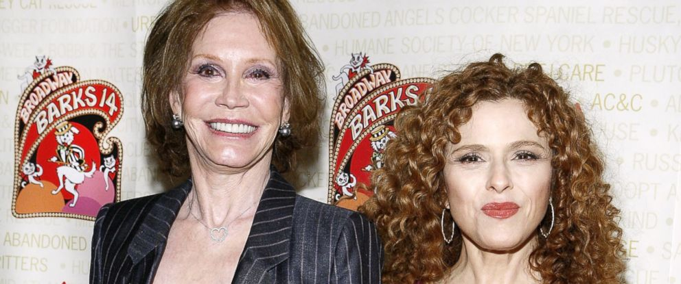 PHOTO: Mary Tyler Moore and Bernadette Peters attend Broadway Barks! 14 at the Shubert Alley, July 14, 2012, in New York City.
