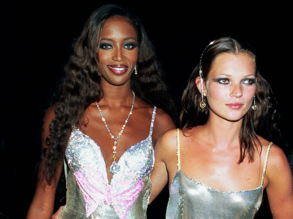 PHOTO: Models Naomi Campbell and Kate Moss attend the De Beers/Versace Diamonds are Forever celebration at Syon House on June 9, 1999 in London.