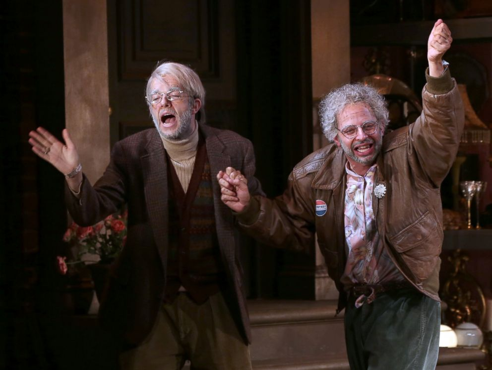 PHOTO: John Mulaney and Nick Kroll during the opening night performance curtain call of Oh, Hello On Broadway at Lyceum Theatre, Oct. 10, 2016, in New York City.