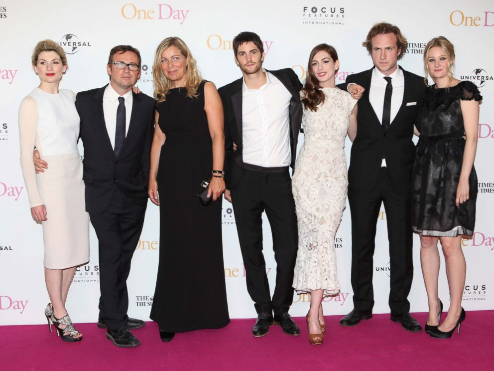 Actress Jodie Whittaker, left, screenwriter David Nicholls, director Lone Scherfig, actors Jim Sturgess, Anne Hathaway, Rafe Spall and Romola Garai attend the European premiere of One Day at The Vue Westfield in this Aug, 23, 2011 file photo in London.