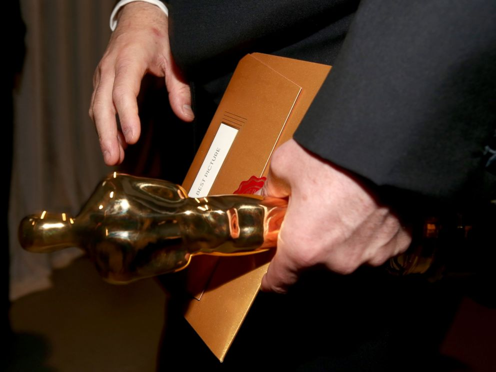 PHOTO: The Oscar statuette for Best Picture is seen backstage during the 87th Annual Academy Awards at Dolby Theatre, Feb. 22, 2015, in Hollywood, California.