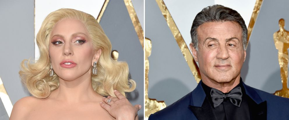 PHOTO: Lady Gaga and Sylvester Stallone are pictured arriving at the 88th Annual Academy Awards, Feb. 26, 2016, in Hollywood, California.