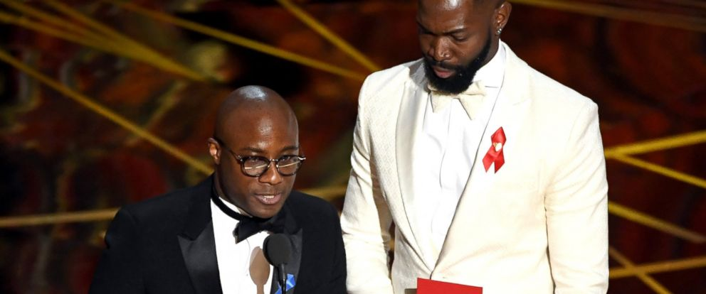 PHOTO: Writer/director Barry Jenkins and writer Tarell Alvin McCraney accept Best Adapted Screenplay for Moonlight onstage during the 89th Annual Academy Awards, Feb. 26, 2017, in Hollywood, Calif.
