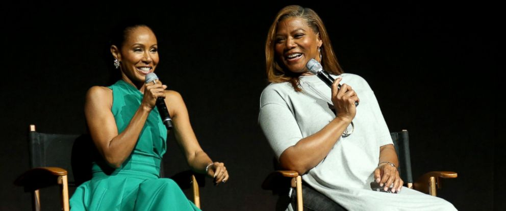 PHOTO: Jada Pinkett Smith and Queen Latifah speak at the Universal Pictures presentation during CinemaCon at The Colosseum at Caesars Palace, March 29, 2017, in Las Vegas.