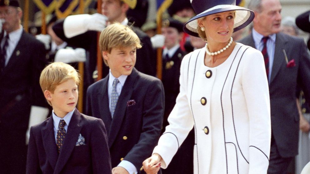 Diana, Princess of Wales and Princes William and Harry attend an event In London on Aug, 19, 1995.