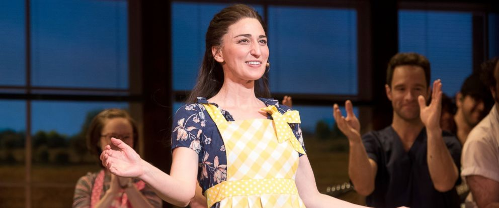 "PHOTO: Sara Bareilles performs onstage during the curtain call for Broadways ""Waitress"" at The Brooks Atkinson Theatre, March 31, 2017, in New York City."